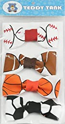 Teddy Tank Toy Accessories 4-Pack Velcro Bows, Sports