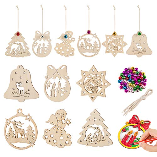 60 Pieces Christmas Wood Ornaments Unfinished Wooden Cutouts Ornaments - Stars, Bells, Christmas Tree, Angel, Candle, Deer, for DIY Christmas Hanging Decoration (with 60 Christmas Bells)