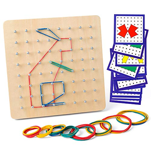 Coogam Wooden Geoboard Mathematical Manipulative Material Array Block Geo Board - Graphical Educational Toys with 24Pcs Pattern Cards and Rubber Bands Shape STEM Puzzle Matrix 8x8 Brain Teaser for Kid