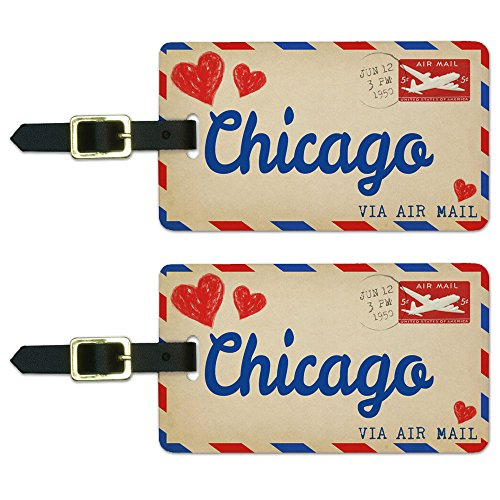 Postcard Chicago Luggage Suitcase Carry