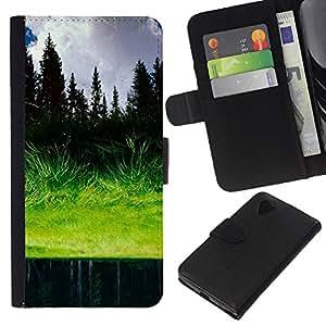 KLONGSHOP // Tirón de la caja Cartera de cuero con ranuras para tarjetas - Hierba reflexión - LG Nexus 5 D820 D821 //