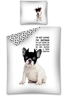 Sweet Animals Französische Bulldogge Motiv Wende Bettwäsche Set 140