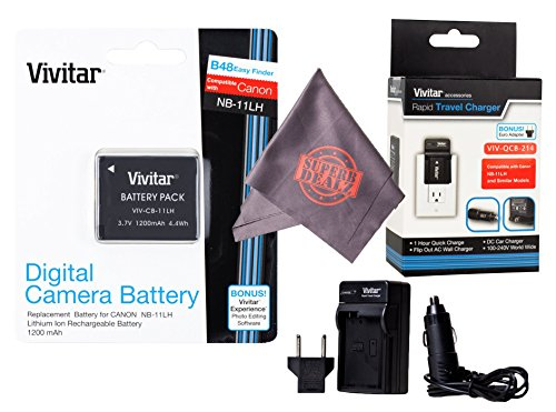 Vivitar NB-11L / NB-11LH Vivitar Ultra High Capacity Rechargeable 1200 mAh Li-ion Battery + AC/DC Vivitar Rapid Travel Charger + Microfiber Lens Cleaning Cloth -