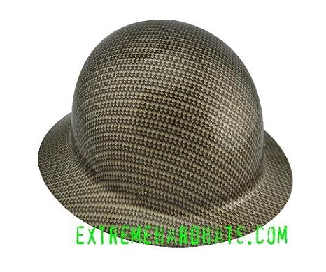 Gold Carbon Fiber Rope MSA SKULLGARD Hard Hat w/Ratchet Suspension