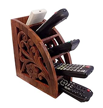 Khandekar with device of K Wooden Handmade Remote Control Holder Brown TV AC Remote Caddy Organizer with 5 Compartments 7.3 Inch