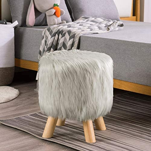 Apicizon Silver Faux Fur Foot Stool Ottoman