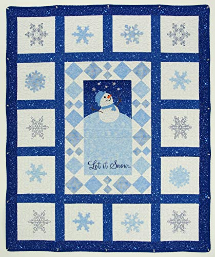 Beautiful Baby Quilt Snow Flakes & Snowman 100% Cotton Made in USA (40