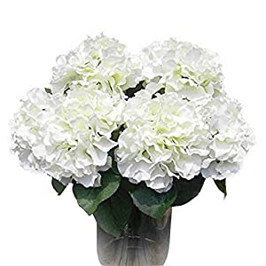 AMTION Artificial Silk Fake 5 Heads Flower Bunch Bouquet Home Hotel Wedding Party Garden Floral Decor Hydrangea 10 Colors Avaliable 49