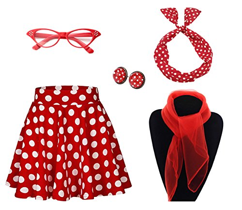 50's Costume Accessories Set Girl Vintage Dot Skirt Scarf Headband Earrings Cat Eye Glasses for Party Red