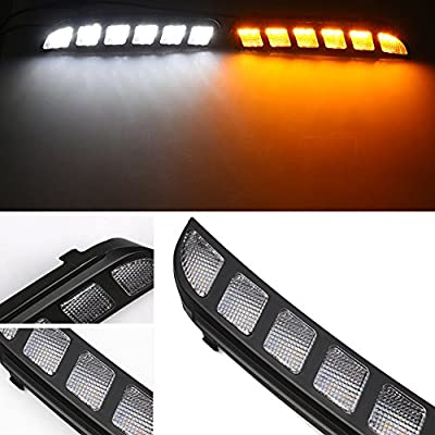 GTINTHEBOX High Power Switchback Amber & White Dual Color LED Front Bumper DRL Fog Driving Lights Extremely Bright with Turn Signal Lamp Kit Perfect Fit For 2016 2020 2020 Ford Explorer: Automotive