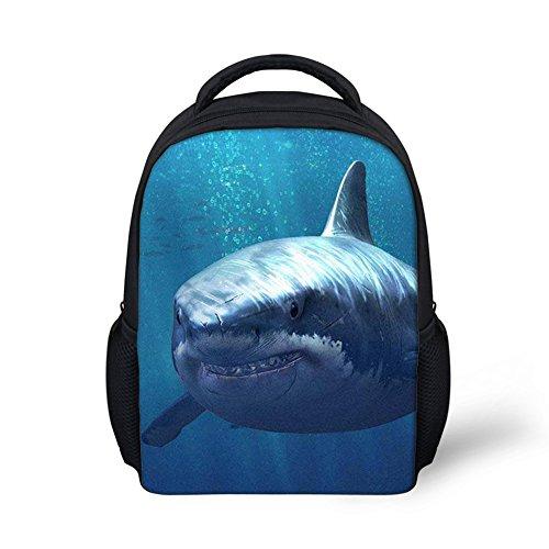 Beauty Collector Navy Blue Preschool Bookbags for Toddler, Customized Shark Backpack Daypack Mini ()