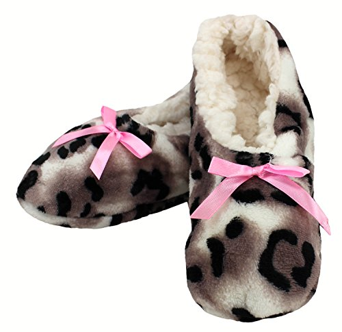 Enimay Womens Animal Print Fuzzy Soft Slipper Socks Anti-Slip Sole House Shoes Beige | Pink Bow - 3