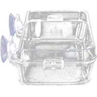 Unicoco Reptile Food Bowl Reptile Water Bowl Transparent Suction Cup Feeder Worm Fodder Container Food Water Dish