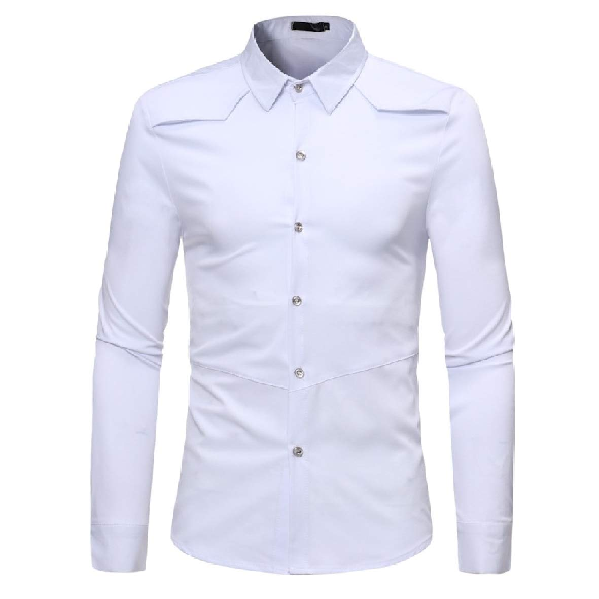 Tootless-Men Pure Simple Long Sleeve Casual Lapel Collar Fitted Dress Shirt