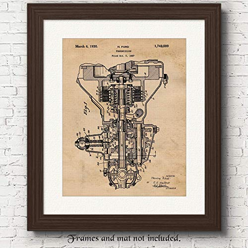 Original Henry Ford Transmission Patent Art Poster Print - 11x14 Unframed - Great Wall Art Decor Gifts Under $15 for Detroit, Man Cave, Garage, Boy's Room, School, Office, Auto Repair Shop Mechanic