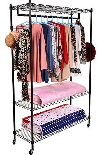 Homdox 3-Tiers Large Size Heavy Duty Wire Shelving Garment Rolling Rack Clothing Rack with Double Clothes Rods and Lockable Wheels+1 Pair Side Hooks,Black