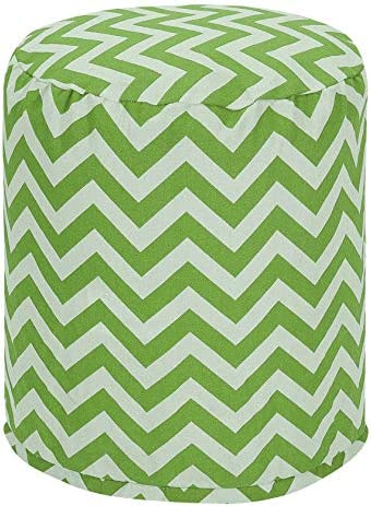 Majestic Home Goods Sage Chevron Indoor/Outdoor Bean Bag Ottoman Pouf 16″ L x 16″ W x 17″ H