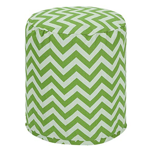 "Majestic Home Goods Sage Chevron Indoor/Outdoor Bean Bag Ottoman Pouf 16"" L x 16"" W x 17"" H from Majestic Home Goods"