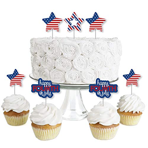 4th of July - Dessert Cupcake Toppers - Independence Day Party Clear Treat Picks - Set of 24]()
