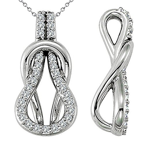 0.31 Carat G-H Diamond Beautiful Design Fancy Charm Love Knot Pendent Necklace Chain 14K White Gold ()
