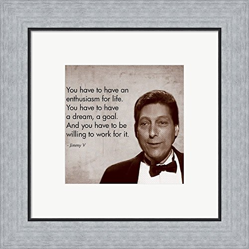 Enthusiasm for Life, Jimmy V Framed Art Print Wall Picture, Flat Silver Frame, 16 x 16 inches