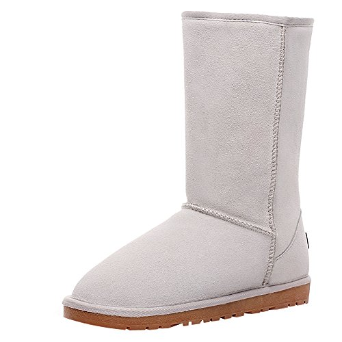 Rismart Women Classic Knee-High Thermal Suede Snow Boots Thick Faux Fur Lined Winter Boots Off-white SN1015 US9