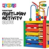 Activity Cube With Bead Maze - 5 in 1 Baby Activity Cube Includes Shape Sorter, Abacus Counting Beads, Counting Numbers, Sliding Shapes, Removable Bead Maze - My First Baby Toys - Original - By Play22