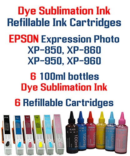Dye Sublimation Ink - Expression Photo XP-850 XP-860 XP-950 XP-960 printer 277XL Refillable ink cartridge package - 6 multi-color bottles 100ml each color - 6 Refillable ink cartridges