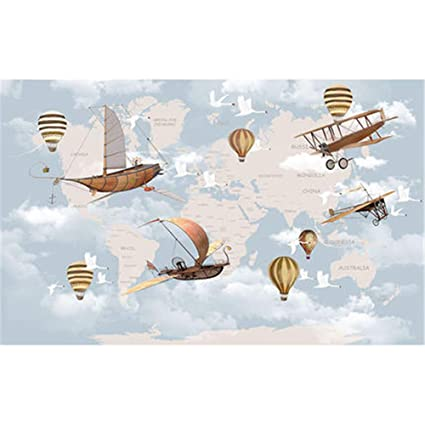 Addflower cartone animato mondo mappa aereo mongolfiera carta da