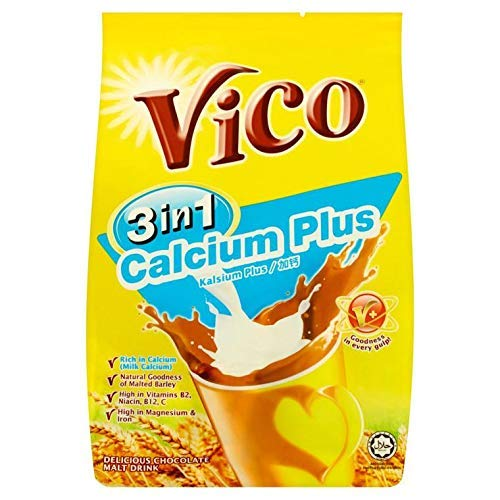 5 Pack Vico 3 in 1 Calcium Plus Chocolate Malt Drink (5 x 15 sachets) Free Express Delivery
