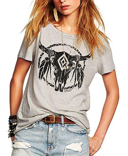 Romastory Womens Street Pattern T-Shirt Short Sleeve Loose Summer Top Tee (XL, ()