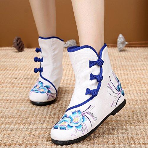 Botas Martin five Beijing Zapatos Boots Folk Cortas Viejos Bordado Botas Blanco Casual Botas Aumento Femenina Thirty KHSKX De Cuarenta Estilo 64fBZWgqqw