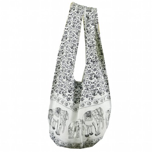 BTP! Hippie Hobo Sling Crossbody Bag Messenger Purse Elephant Floral Printed in White XL (Signature Sling Handbag)