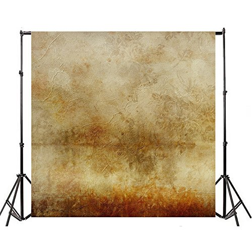 (Yeele 8x8ft Vintage Tan Photography Backdrops Solid Gradient Rough Shabby Weathered Pattern Brown Photo Background Adult Baby Party Portrait Video Shoot Studio Prop Drops Vinyl Wallpaper)