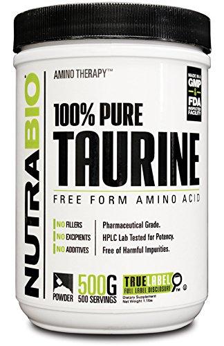 NutraBio 100% Pure Taurine Powder - 500 Grams
