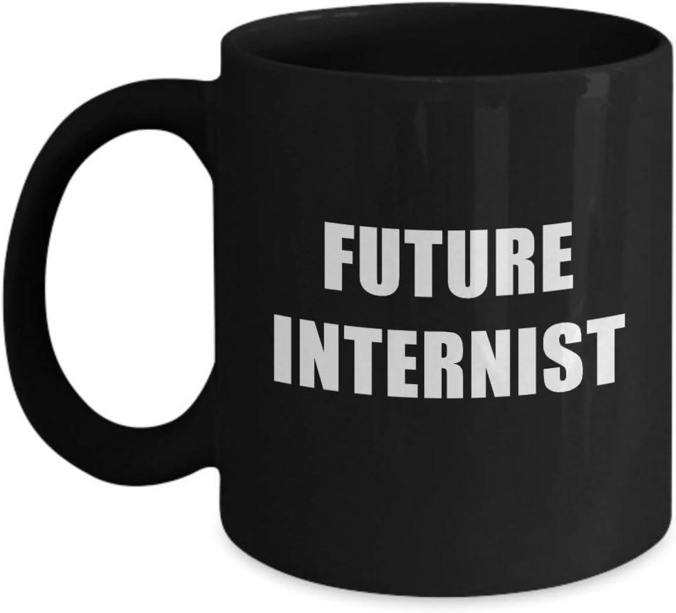 N\A Future Internist Taza de acrílico con Soporte para café, 11 oz, Color Negro - Profesión, Trabajador, Experto en Medicina Interna de Dream Job