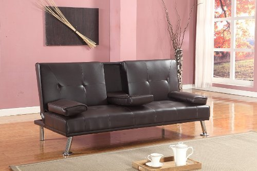 Cinema Style Futon Sofabed With Drinks Table Sofa Bed Faux Leather in Chocolate Brown by Comfy Living