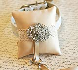 Cream Dog Ring Pillow Collar, Burlap, Victorian wedding, Dog Ring Bearer