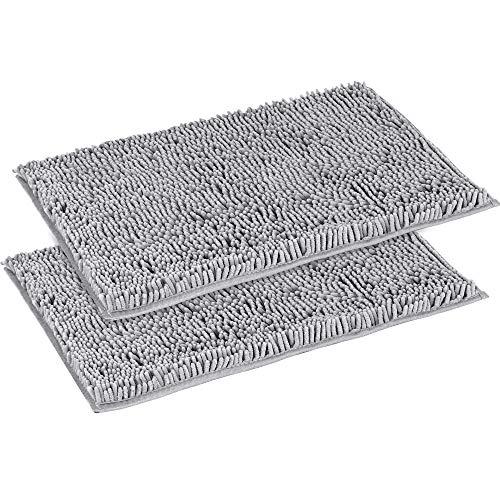 "Flamingo P Super Soft Microfiber Bathroom Rugs Non Slip Shag Bath Mat for Kitchen Bedroom, 17""x 24"", Grey, Two Pack"