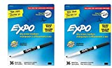EXPO 1921062 Low-Odor Dry Erase Markers, Fine Tip, Black, 2 Packages (36-Count)