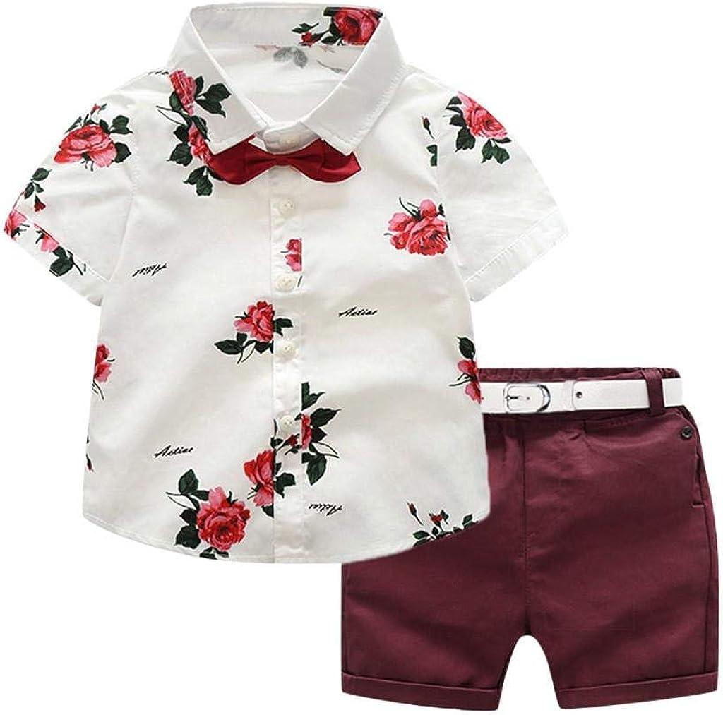 Toddler Baby Boy Shorts Sets Hawaiian Outfit Kids Boy Leave Floral Short Sleeve Shirt Top+Shorts Suits Summer Beachwear