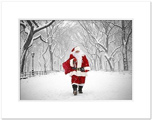 Walk Park (Santa on Poet Walk in Central Park, New York - 11 x 14 Inch Matted Art Photo Print By Igor Maloratsky)