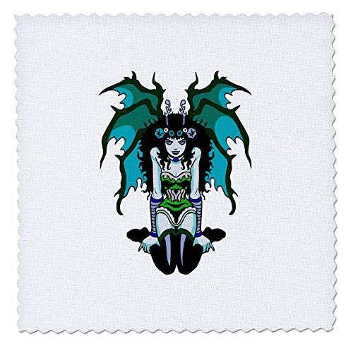 3dRose Russ Billington Designs - Gothic Vamp Girl Tattoo Style in Green and Blue - 8x8 inch Quilt Square (qs_293774_3)