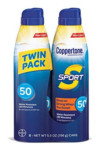 Coppertone SPORT Continuous Sunscreen Spray Broad Spectrum SPF 50 (5.5-Ounce per Bottle, Pack of 2)
