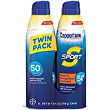 Coppertone SPORT Continuous Sunscreen Spray Broad Spectrum SPF 50 (5.5-Ounce Bottle, Twin Pack)