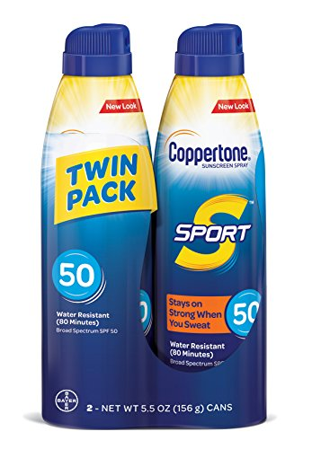 - Coppertone SPORT Continuous Sunscreen Spray Broad Spectrum SPF 50 (5.5 Ounce per Bottle, Pack of 2) (Packaging may vary)