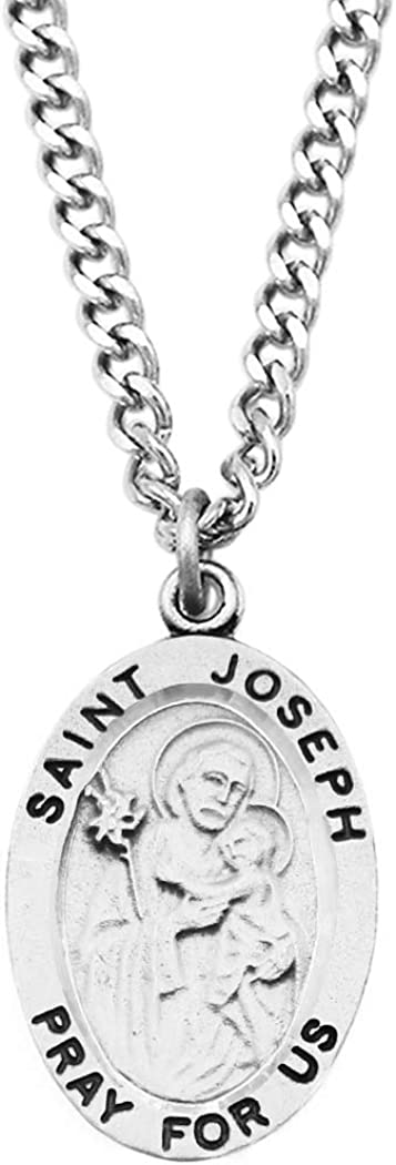 """Rosemarie Collections Religious Saint Medal Pendant Necklace 24"""""""