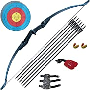 Tongtu Recurve Bow and Arrow Adults Archery Set Beginners 30 40Lbs Takedown Bow Kit with Arrows Target Left Ri