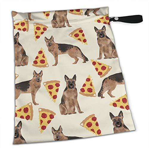 (Pizza Cache German Shepherd Dog Premium Wet Bag Baby Wet Dry Cloth Diaper Bags Waterproof Reusable Wet Bags for Swimsuit Wet Clothes Baby Items with Zipper)