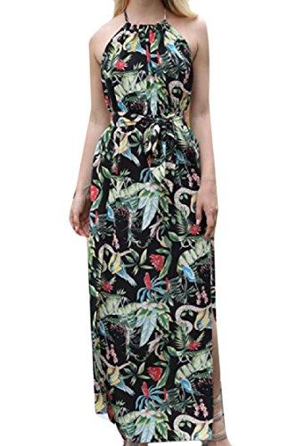 Dress Beach Boho Backless Coolred Black Slip Printed Women Cut Flower Out fXftqxz8